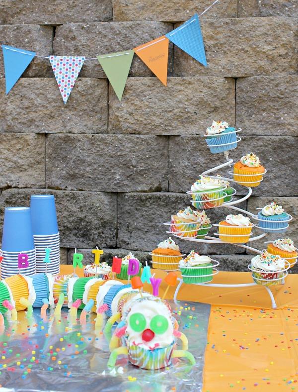 kids caterpillar cupcakes