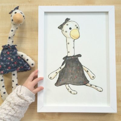 Your child's toy, hand drawn as a forever keepsake