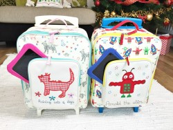 becoming independent with their pink lining wheelie cases