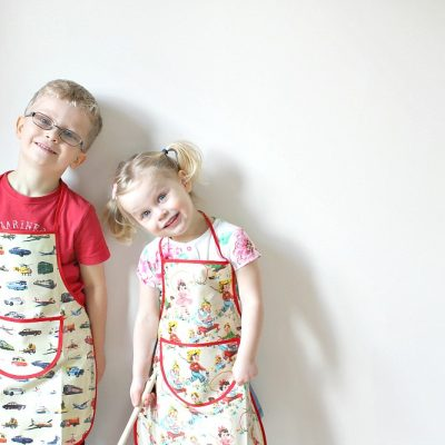 Baking, half term, and the kids' first aprons