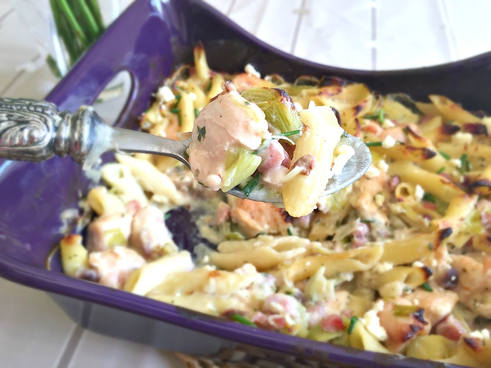 Schwartz Chicken & Leek Pasta Bake recipe cooking with my kids