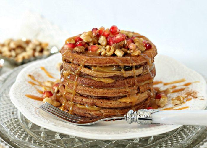 Cinnamon Caramel Cake Batter Pancakes