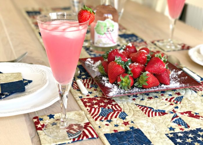 4th of July Tablescape & Rhubarb Gin with Summer Fruits Cocktail
